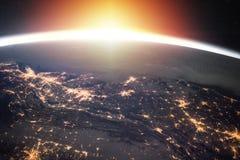 Terra do planeta na noite fotografia de stock