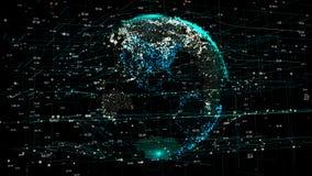 Terra do planeta na rede futurista global com linhas ao redor do mundo ilustração do vetor