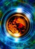Terra do planeta no círculo claro, fundo cósmico do espaço colagem do computador Conceito da terra Elementos desta imagem forneci Foto de Stock