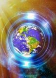 Terra do planeta no círculo claro, fundo cósmico do espaço colagem do computador Conceito da terra Terra do planeta em raios clar ilustração stock