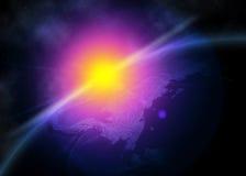 Terra do planeta no espaço Foto de Stock