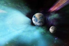Terra do planeta no fundo do espaço. Fotos de Stock