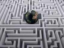 Terra do planeta no labirinto do labirinto Fotografia de Stock Royalty Free
