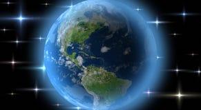 Terra do planeta no nascer do sol da órbita