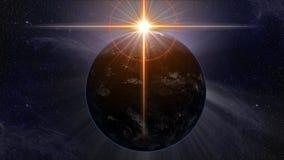 A terra do planeta onde o sol forma um alargamento transversal dourado místico ilustração do vetor