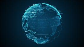 Terra do planeta do pixel 3D com animação grande dos dados O globo de giro, continentes de brilho com flutuação numera Cyber abst ilustração stock