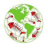Terra do planeta, poluição ambiental, catástrofe natural, ícones da ecologia Imagens de Stock