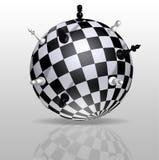 Terra do planeta sob a forma de um tabuleiro de xadrez com figuras distantes Imagem de Stock Royalty Free