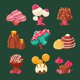 Terra doce dos doces dos desenhos animados Ilustração do vetor Foto de Stock Royalty Free