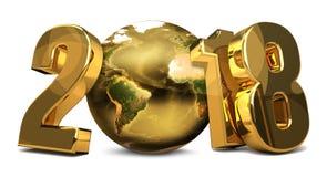 a terra dourada 3d do planeta do mundo 2018 rende Foto de Stock