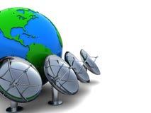 Terra e antenas de rádio Fotos de Stock Royalty Free