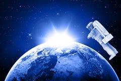Terra e astronauta azuis do planeta ilustração do vetor