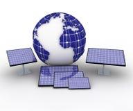 Terra e comitati solari Immagine Stock