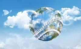 Terra e dígitos de computação da nuvem ilustração do vetor