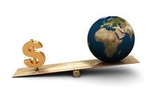 Terra e dinheiro Fotos de Stock