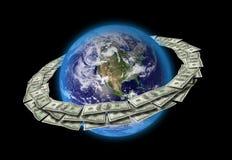 Terra e dollari Fotografie Stock Libere da Diritti