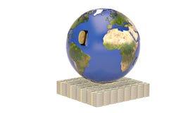 Terra e dollari delle pile di concetto globale di finanza illustrazione 3D Fotografie Stock Libere da Diritti