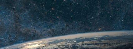 Terra e galáxia Espaço do céu noturno fotos de stock royalty free