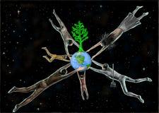Terra e la gente in universo illustrazione di stock