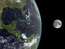 Terra e la luna Fotografie Stock Libere da Diritti