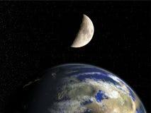 Terra e lua Fotos de Stock
