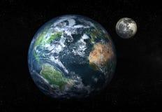 Terra e lua Fotografia de Stock