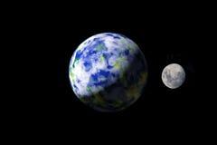 Terra e lua dos spacae exteriores Fotografia de Stock Royalty Free