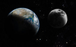 Terra e luna Immagini Stock Libere da Diritti