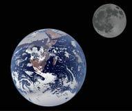 Terra e luna isolate sul nero Immagine Stock Libera da Diritti