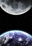 Terra e luna nello spazio Immagine Stock Libera da Diritti