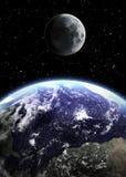 Terra e luna nello spazio Fotografie Stock Libere da Diritti
