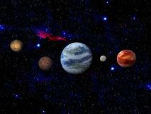 Terra e luna nello spazio royalty illustrazione gratis