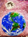 Terra e luna nello spazio cosmico illustrazione di stock