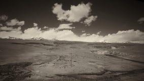 A terra e o céu claro no Sepia tonificam foto de stock royalty free