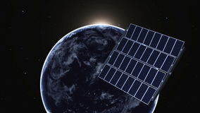 A terra e o painel solar ilustração stock