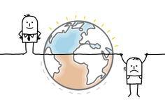 A terra e os seres humanos dos desenhos animados dividiram-se em duas porções desiguais Imagens de Stock