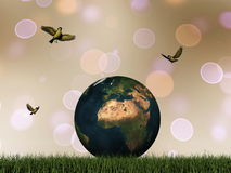 Terra e pássaros - 3D rendem Foto de Stock Royalty Free