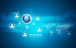 Terra e rede com ícones dos povos Foto de Stock