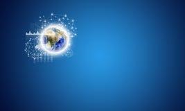 Terra e rede com ícones dos povos Fotografia de Stock