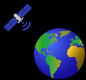 Terra e satélite Fotografia de Stock Royalty Free