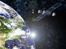 Terra e satellite di Sun Fotografia Stock Libera da Diritti