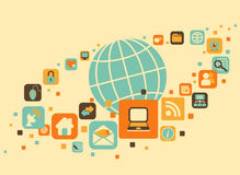 Terra e sociale, media, icone di web Fotografie Stock Libere da Diritti