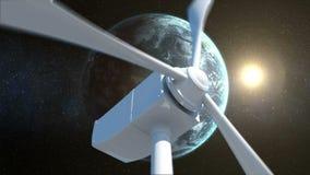 Terra e sol atrás de um moinho de vento ilustração royalty free