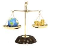 Terra e soldi Fotografie Stock Libere da Diritti