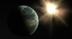 Terra e Sun Foto de Stock