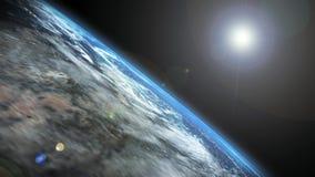Terra e Sun - metragem de alta qualidade da terra do planeta e da nossa estrela o Sun ilustração do vetor