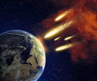Terra ed asteroidi illustrazione di stock