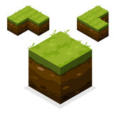 Terra ed erba isometriche del cubo del paesaggio Immagine Stock