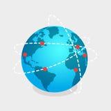 Terra ed illustrazione isolata rete online dei negozi Fotografia Stock