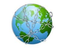 Terra envolvida nas correntes Fotos de Stock Royalty Free